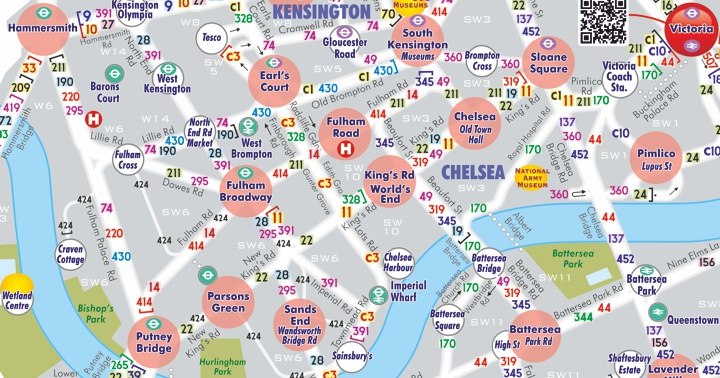 London by Bus a visual travel planner of Central London bus routes